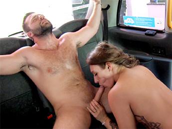 Big Sticky Facial After Hot Cab Sex